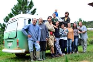 A equipe que participou das coletas e entrevistas no sítio Santos Leck em Águas Mornas.